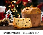 delicious panettone slice with... | Shutterstock . vector #1188301414