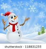 christmas snowman standing in a ... | Shutterstock . vector #118831255