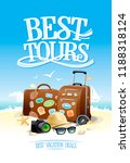 best tours poster design with... | Shutterstock .eps vector #1188318124