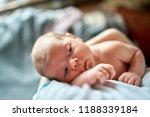 newborn sleeping on mom's... | Shutterstock . vector #1188339184