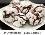 chocolate crinkle cookies | Shutterstock . vector #1188358597