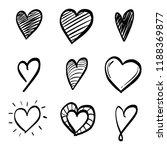 set of nine hand drawn heart.... | Shutterstock .eps vector #1188369877
