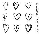 set of nine hand drawn heart.... | Shutterstock .eps vector #1188370021
