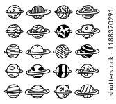 vector doodle planets set. hand ... | Shutterstock .eps vector #1188370291