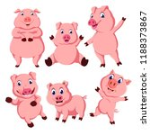 the collection of the pink pig... | Shutterstock . vector #1188373867