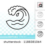wave thin line icon. outline... | Shutterstock .eps vector #1188381064