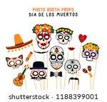 photo booth props for dia de... | Shutterstock .eps vector #1188399001
