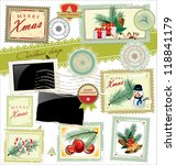 vintage christmas post stamps | Shutterstock .eps vector #118841179