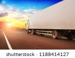 white truck and a white trailer ... | Shutterstock . vector #1188414127