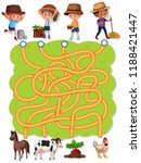 farmer maze game template... | Shutterstock .eps vector #1188421447
