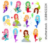mermaid vector cartoon seamaid... | Shutterstock .eps vector #1188422224