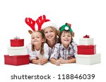 Happy christmas people family with presents laying on the floor - isolated - stock photo