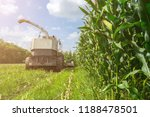 harvest of juicy corn silage by ... | Shutterstock . vector #1188478501