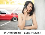 young woman calling for help or ... | Shutterstock . vector #1188492364