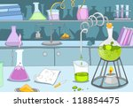chemical laboratory. cartoon... | Shutterstock .eps vector #118854475