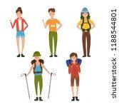 vector tourist people set | Shutterstock .eps vector #1188544801
