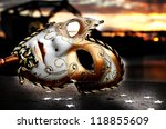 Venetian Mask by the River Bridge with Sunset - stock photo
