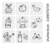 set of vector hand drawn baby... | Shutterstock .eps vector #1188576724