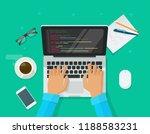 programmer coding on laptop... | Shutterstock .eps vector #1188583231