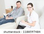 woman doctor psychologist in... | Shutterstock . vector #1188597484