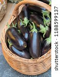 eggplant in a basket  autumn... | Shutterstock . vector #1188599137