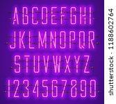 glowing purple neon alphabet... | Shutterstock .eps vector #1188602764