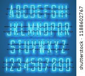 glowing blue neon alphabet with ... | Shutterstock .eps vector #1188602767