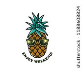 pineapple with sunglasses white ... | Shutterstock . vector #1188608824