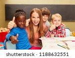 happy children in multicultural ... | Shutterstock . vector #1188632551