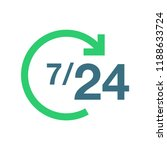 7 24 online service flat icon....
