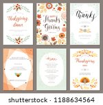 thanksgiving greeting cards and ... | Shutterstock .eps vector #1188634564