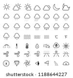 weather forecast line icons set | Shutterstock . vector #1188644227