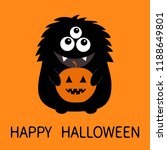 happy halloween card. black... | Shutterstock .eps vector #1188649801
