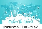 explore the world with famous...   Shutterstock .eps vector #1188691564