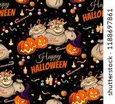 seamless pattern   pumpkins and ... | Shutterstock .eps vector #1188697861