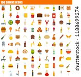 100 not healthy food icon set.... | Shutterstock . vector #1188699274