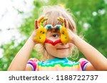children hands in colors.... | Shutterstock . vector #1188722737