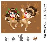 Colorful Characters Christmas : Reindeers Dance - stock vector