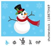 Colorful Characters Christmas : snowman - stock vector