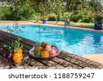 exotic fruits by the pool | Shutterstock . vector #1188759247