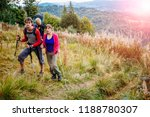 couple hiking with baby boy... | Shutterstock . vector #1188780307