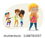 sad overweight boy wearing... | Shutterstock .eps vector #1188781057