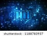 Stock photo battery icon in digital background battery supply concept background energy efficiency concept 1188783937