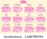 year 2019 vector monthly... | Shutterstock .eps vector #1188789094