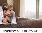 a student is resting in bed. | Shutterstock . vector #1188799981