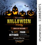 halloween party invitation with ... | Shutterstock .eps vector #1188824071