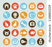 Stock vector set of vector stickers with pet icons dog and cat equipment 118883209