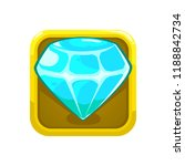blue colored gemstone icon with ...
