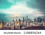 hong kong cityscape in vintage... | Shutterstock . vector #1188856264