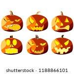 set of six pumpkins for... | Shutterstock .eps vector #1188866101
